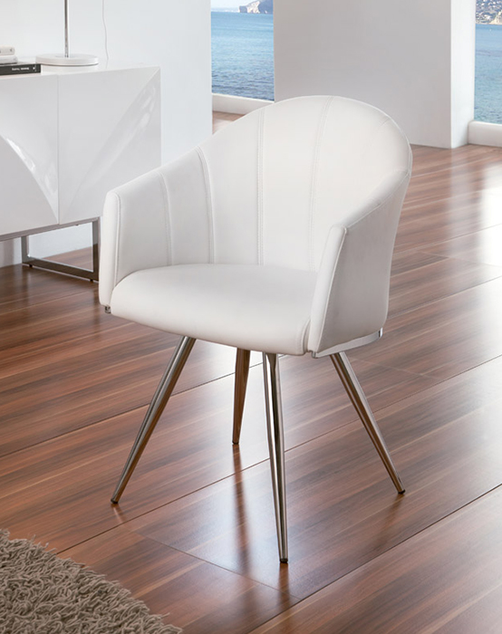 Dupen Swivel Chair Upholstered In White Ecoleather With Chrome Legs Dining Chairs Dining The Atrium