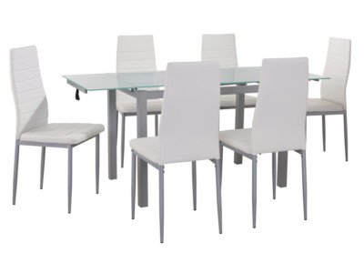 ef18c6b8e9 Promo Extension Dining Set With 6 Chairs White